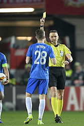 February 14, 2019 - Prague, CZECH REPUBLIC - Genk's Bryan Heynen receives a yellow card from referee Andris Treimanis during a soccer game between Czech club SK Slavia Praha and Belgian team KRC Genk, the first leg of the 1/16 finals (round of 32) in the Europa League competition, Thursday 14 February 2019 in Prague, Czech Republic. BELGA PHOTO YORICK JANSENS (Credit Image: © Yorick Jansens/Belga via ZUMA Press)