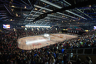 The teams listen to the National Anthem during the men's hockey game between the Vermont Catamounts and the Quinnipiac Bobcats in the championship game of the Friendship Four hockey tournament at the SSE Arena on Saturday evening November 26, 2016 in Belfast, Ireland. (BRIAN JENKINS/for the FREE PRESS)