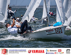 2019 470 World Championships and Tokyo 2020 Olympic Qualification Event. Two World titles are being contested from 2-9 August in Enoshima, Japan, and four Tokyo 2020 Olympic Qualification places in the men and six in the women
