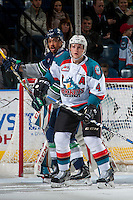 KELOWNA, CANADA - FEBRUARY 13: Gordie Ballhorn #4 of the Kelowna Rockets looks for the pass against the Seattle Thunderbirds on February 13, 2017 at Prospera Place in Kelowna, British Columbia, Canada.  (Photo by Marissa Baecker/Shoot the Breeze)  *** Local Caption ***