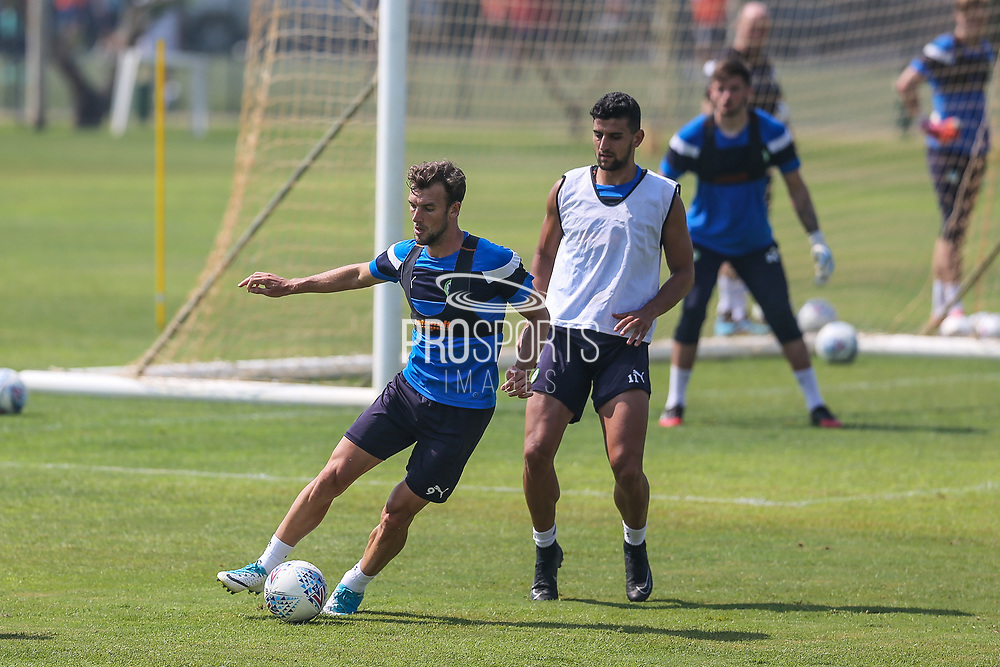 Forest Green Rovers Christian Doidge(9) on the ball during the Forest Green Rovers Training session at Browns Sport and Leisure Club, Vilamoura, Portugal on 25 July 2017. Photo by Shane Healey.