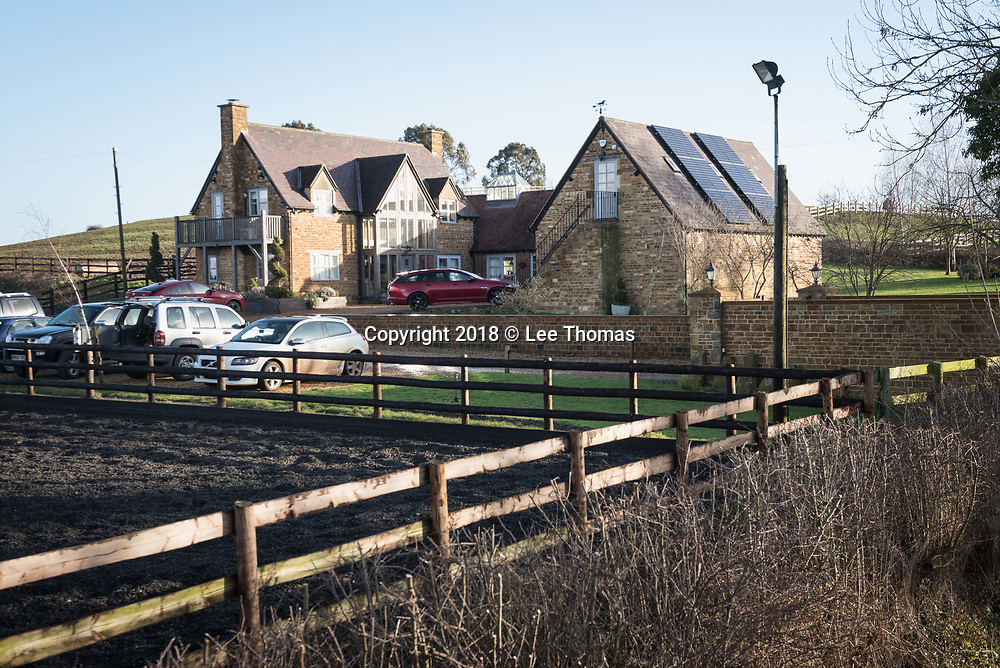 Upper Tysoe, Warwickshire, UK. 25th January 2018. Pictured is the Warwickshire home of Nadhim Zahawi, Member of Parliament for Stratford-Upon-Avon. The property includes a riding school and stables which was subject to scrutiny in 2013 when the millionaire Tory MP admitted claiming expenses for electricity used to run the stables on his private estate. Recently appointed Children and families minister Zahawi is currently in the limelight again after attending The Presidents Club fundraiser at the Dorchester Hotel in London and was called to Downing Street on Wednesday to explain his attendance to chief whip Julian Smith. // Lee Thomas, Tel. 07784142973. Email: leepthomas@gmail.com  www.leept.co.uk (0000635435)