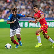PARIS, FRANCE - September 10:  Kingsley Coman #11 of France defended by Joan Cervos #17 of Andorra during the France V Andorra, UEFA European Championship 2020 Qualifying match at Stade de France on September 10th 2019 in Paris, France (Photo by Tim Clayton/Corbis via Getty Images)