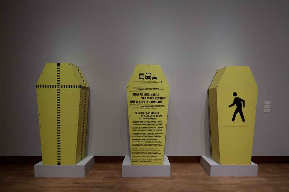 Steven Driscoll Hixson, Pedestrian Project installation in the Art Department Faculty Exhibition at the Chazen Museum of Art.