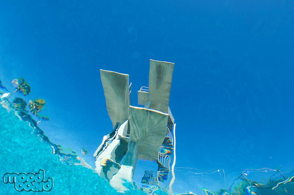 Diving board, underwater view