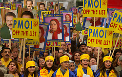 About 5,000 Iranian supporters of the opposition party, the National Council of Resistance of Iran, take part in a demonstration outside the European Council headquarters, during a meeting of EU foreign ministers, in Brussels, Belgium, on November 7, 2005. The protesters called for tougher EU policies towards the Iranian regime as the European Union considered a request by Iran to resume negotiations over the country's nuclear program. (Photo © Jock Fistick)