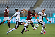 Torino FC's Venezuelan midfielder Tomas Rincon is challenged by Parma Calcio's Italian midfielder Matteo Scozzarella and Slovenian midfielder Jasmin Kurtic during the Serie A match at Stadio Grande Torino, Turin. Picture date: 20th June 2020. Picture credit should read: Jonathan Moscrop/Sportimage