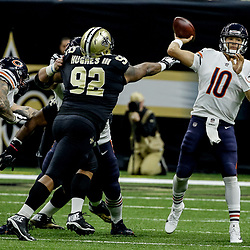 Oct 29, 2017; New Orleans, LA, USA; Chicago Bears quarterback Mitchell Trubisky (10) throws as New Orleans Saints defensive tackle John Hughes III pressures during the second half of a game at the Mercedes-Benz Superdome. The Saints defeated the Bears 20-12. Mandatory Credit: Derick E. Hingle-USA TODAY Sports