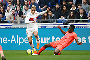 Mariano Diaz of Lyon and Romain Genevois of Caen during the French Championship Ligue 1 football match between Olympique Lyonnais and SM Caen on march 11, 2018 at Groupama stadium in Decines-Charpieu near Lyon, France - Photo Romain Biard / Isports / ProSportsImages / DPPI