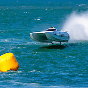 Maritimo 1 goes the aerial route, Inboard Engine Class, in the Offshore Superboat Championships Coffs Harbour, New South Wales, Australia