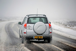 © Licensed to London News Pictures. 27/10/2018. Hutton-Le-Hole UK. Drivers faced difficult road conditions after snow fell over night on the roads around Hutton-Le-hole in the North Yorkshire Moors. Photo credit: Andrew McCaren/LNP