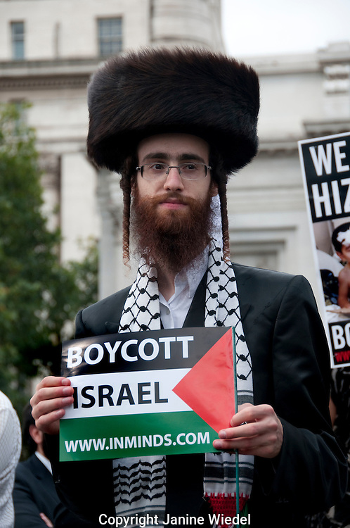 Orthodox Hasidic Jews at annual Muslim Quds Day march in London 4th September 2010