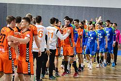 Players of both teams shaking hands after friendly handball match between Slovenia and Nederland, on October 25, 2019 in Športna dvorana Hardek, Ormož, Slovenia. Photo by Blaž Weindorfer / Sportida