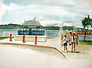 "Dash Point Pier. Tacoma, WA. Watercolor. 12x16"". ©JoAnn Hawkins."