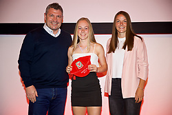 NEWPORT, WALES - Saturday, May 19, 2018: Ellan Jones is presented with her Under-16's cap by Osian Roberts (left) and Lauren Dykes (right) during the Football Association of Wales Under-16's Caps Presentation at the Celtic Manor Resort. (Pic by David Rawcliffe/Propaganda)