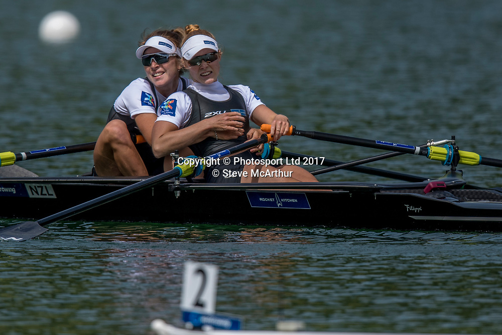 Zoe McBride (Nelson RC) and Jackie Kiddle (Star BC) NZ Lightweight Womens Double Scull winning the gold medal at WCIII on the Rotsee, Lucerne, Switzerland, Sunday 9th July 2017 © Copyright Steve McArthur / www.photosport.nz