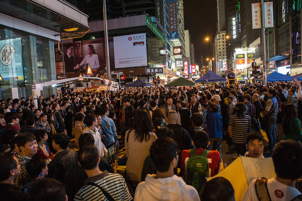 Crowds occupying Mongkok in Hong Kong calling for full democratic rights for citizens of the region.