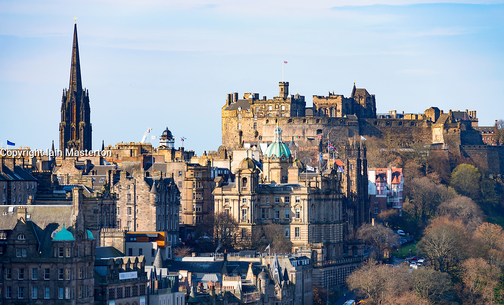 The famous view of Edinburgh Old Town and Edinburgh Castle from Calton Hill, Edinburgh, Scotland ,UK