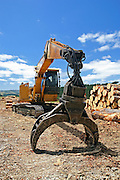 tree logs piled up in the background of this logging picture, with logging machinery and log grapple in the foreground, in the Rodney District, New Zealand