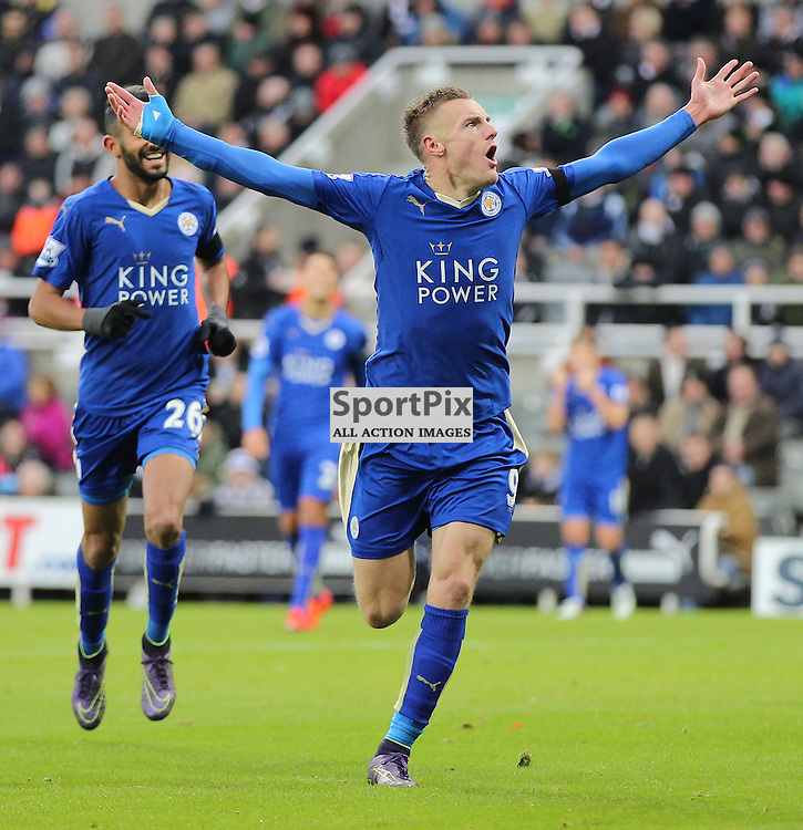Newcastle United v Leicester City English Premiership 21 November 2015; Jamie Vardy (Leicester City, 9)scores and equals the record during the Newcastle v Leicester City English Premiership match played at St. James' Park, Newcastle; <br /> <br /> &copy; Chris McCluskie | SportPix.org.uk