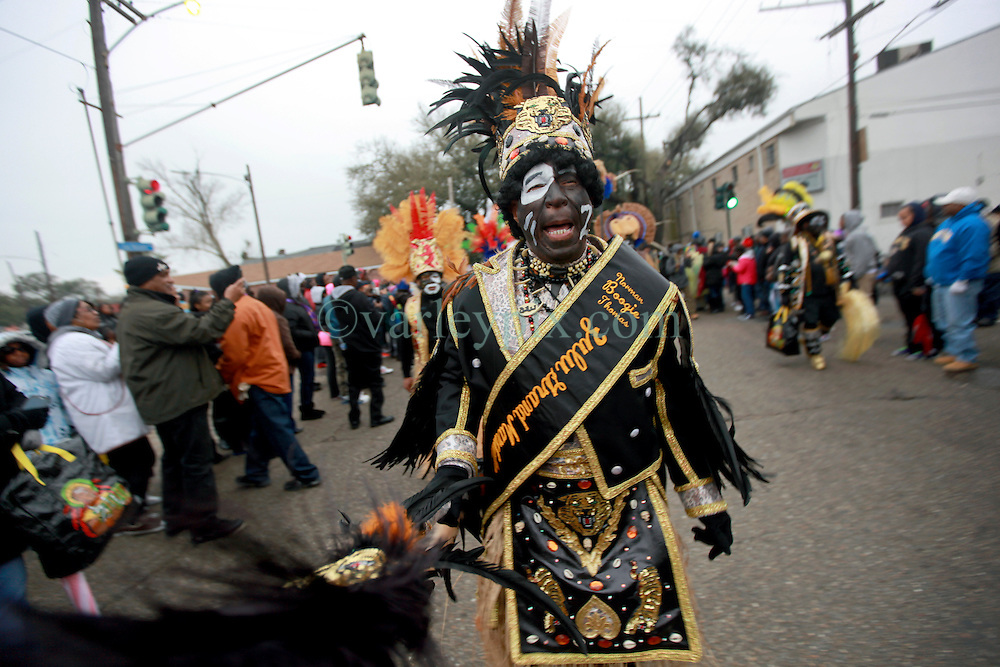 04 March 2014. New Orleans, Louisiana.<br /> The early morning Krewe of Zulu rolls through the streets of New Orleans.<br /> Photo; Charlie Varley/varleypix.com