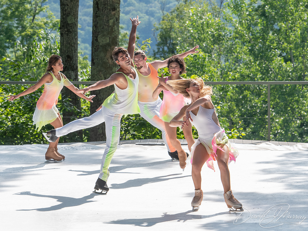 Sinead Kerr, Liz Schmidt, Matej Silecky, Alper Ucar, and Dr. Nadine Ahmed Kerr of Ice Dance International perform on the outdoor stage at Jacobs Pillow, July 2019