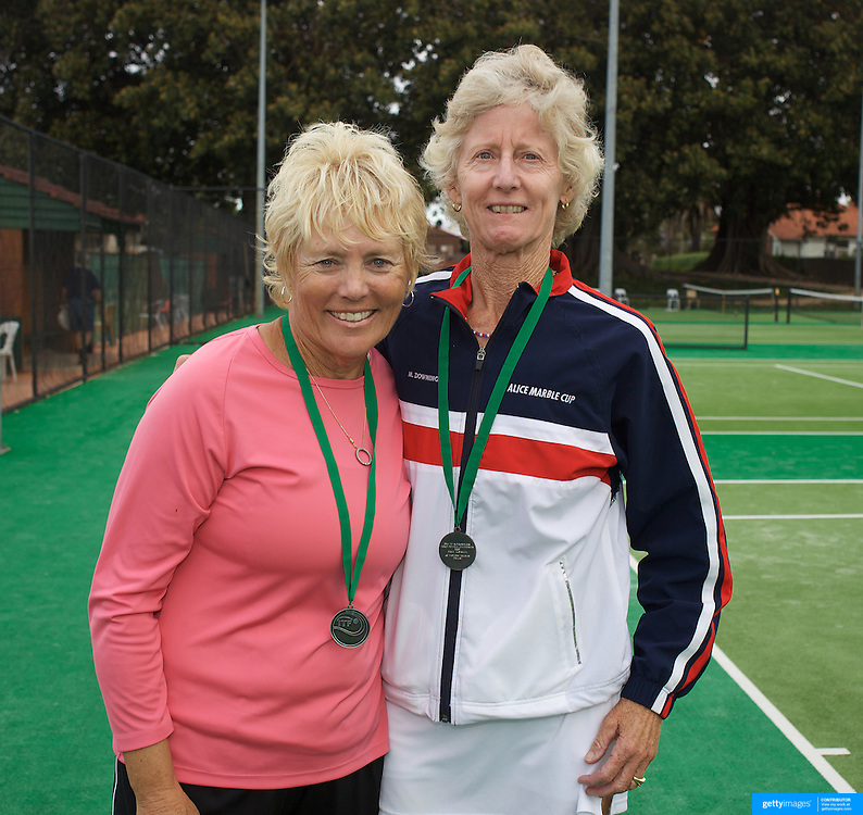 Kathleen Bennett, USA, (left) and Martha Downing, USA, Runners Up, 60 Womens Doubles during the 2009 ITF Super-Seniors World Team and Individual Championships at Perth, Western Australia, between 2-15th November, 2009.