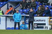 Forest Green Rovers manager, Mark Cooper shouts instructions during the FA Trophy 2nd round match between Chester FC and Forest Green Rovers at the Deva Stadium, Chester, United Kingdom on 14 January 2017. Photo by Shane Healey.