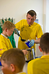 Pictured: Chef Jordan Docherty<br /> Inch by Inch for Scotland launched a major national obesity campaign today at Portobello High School. Chef Jordan Docherty was on hand to show how he turned his life around from drink and drugs in his early life with support from the campaign.  He was keen to show the school students that they could make healthy food on a budget and his version of a pot noodle made in five miutes went down well.    'Inch by Inch for Scotland' is a campaign aimed at reducing obesity amongst the population of Scotland by creating positive content aimed at teenagers and families to challenge them to take part in exercises or in preparing a healthier diet.<br /> <br /> The core idea for the campaign is to encourage teenagers and parents to do a small change or to take part in a small activity that will hopefully create an incremental change where people want to live healthier lives. Ultimately the goal is to change the culture of the nation, although we understand that we need to take small incremental steps at first – hence – 'Inch by Inch'.<br /> <br /> <br /> Ger Harley | EEm 7 September 2017
