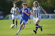 Chelsea Ladies forward Fran Kirby beats Notts County Ladies midfielder Sophie Walton to the ball during the FA Women's Super League match between Chelsea Ladies FC and Notts County Ladies FC at Staines Town FC, Staines, United Kingdom on 6 September 2015. Photo by Mark Davies.