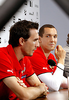 GEPA-1406081363 - STEGERSBACH,AUSTRIA,14.JUN.08 - FUSSBALL - UEFA Europameisterschaft, EURO 2008, Nationalteam Oesterreich, Pressekonferenz. Bild zeigt  Martin Stranzl und Emanuel Pogatetz (AUT).<br />