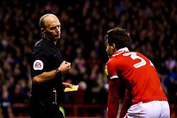 Referee Mike Dean speaks to Karim Ansarifard of Nottingham Forest - Mandatory by-line: Robbie Stephenson/JMP - 13/03/2019 - FOOTBALL - The City Ground - Nottingham, England - Nottingham Forest v Aston Villa - Sky Bet Championship