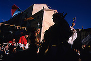 SPAIN / Castile and Leon / Segovia province / Sepulveda. Medieval recreations in Spain. Musicians parade. This village celebrates every July a Medieval market. ....
