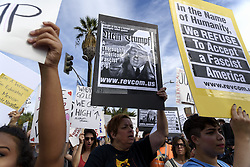 November 12, 2016 - Los Angeles, California, United States - An estimated crowd of nine thousand people marched through the streets of Los Angeles in protest of President-Elect, Donald Trump. Los Angeles, California November 12, 2016. According to the LAPD this was the largest anti-Trump protest to date in the city. (Credit Image: © Ronen Tivony/NurPhoto via ZUMA Press)
