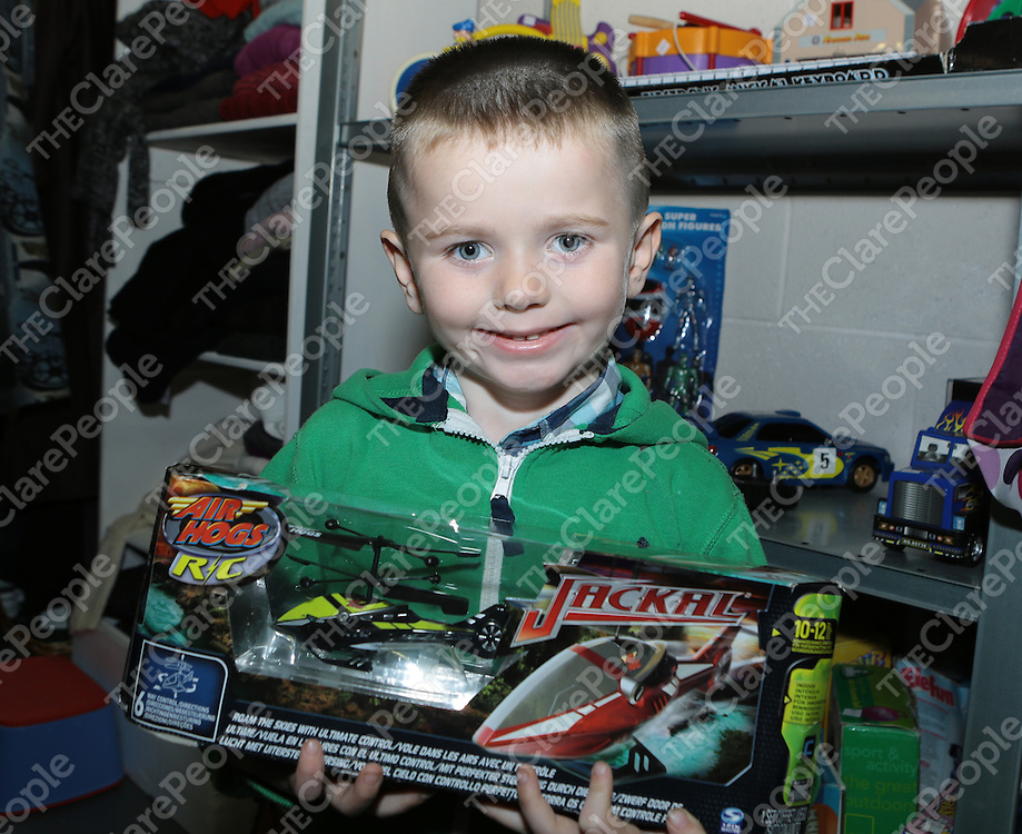 12/9/2013   Pictured at the opening of the Clare Haven Charity Shop in the Gort road Industrial Park was young Bernard McDonagh(5), Cloughlee. <br /> Picture Liam Burke/Press 22