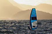 Mateo Sanz Lanz from Switzerland sails during an RS:X Mens class race in the Rio 2016 Olympic Games Sailing events in Rio de Janeiro, Brazil, 12 August 2016.