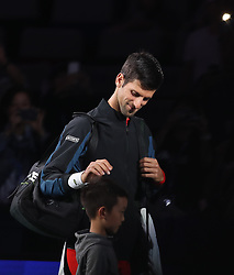 SHANGHAI, Oct. 9, 2018  Serbia's Novak Djokovic enters the court ahead of the men's singles second round match against France's Jeremy Chardy at the Shanghai Masters tennis tournament on Oct. 9, 2018. Novak Djokovic won 2-0. (Credit Image: © Ding Ting/Xinhua via ZUMA Wire)