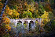 The railbridge in the pass of Killiecrankie in the Scottisch Highlands in autumn.