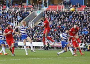 Blackburn Rovers striker, Fode Koita gets a solid header on the ball to take it goalwards during the Sky Bet Championship match between Reading and Blackburn Rovers at the Madejski Stadium, Reading, England on 20 December 2015. Photo by Andy Walter.