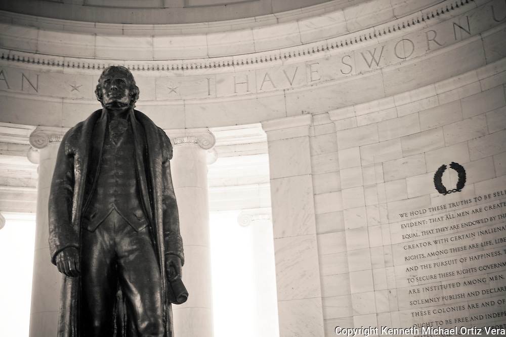 Jefferson's statue at the Jefferson Memorial in Washington D.C.