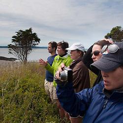 Aileen Educates Kayakers, Yellow Island, San Juan Islands, Washington, US