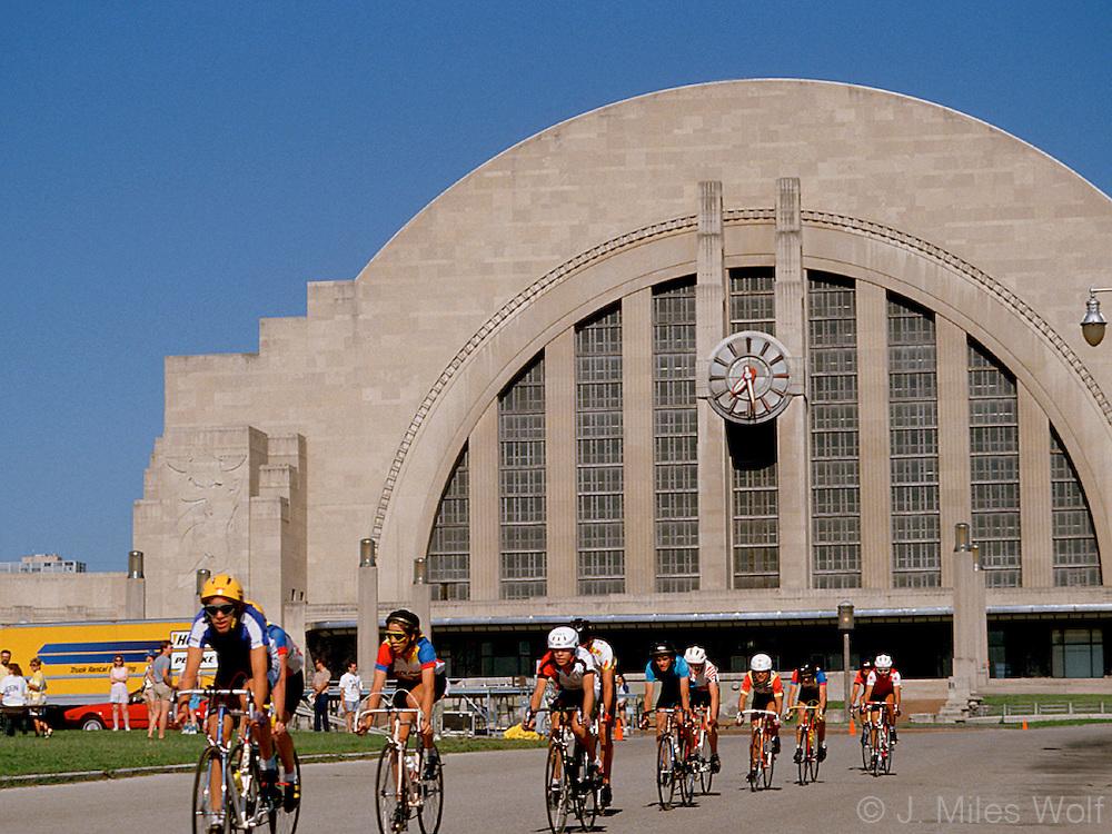 Bicyclists by Union Terminal in Downtown Cincinnati Ohio