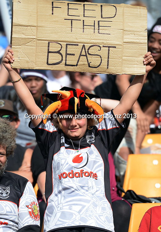 "Warriors fans saying ""Feed the Beast"". NRL Rugby League match, Vodafone Warriors v Melbourne Storm at Mt Smart Stadium in Auckland on Sunday 28 July 2013. Photo: Andrew Cornaga/Photosport.co.nz"