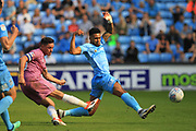 Disallowed Goal Ian Henderson shoots  during the EFL Sky Bet League 1 match between Coventry City and Rochdale at the Ricoh Arena, Coventry, England on 1 September 2018.