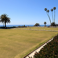 Photo of Laguna Beach Lawn Bowling Club in Heisler Park. Laguna Beach is a seaside beach city in Orange County in Southern California.