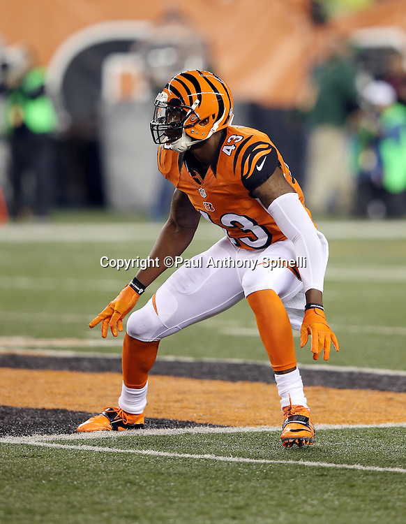 Cincinnati Bengals strong safety George Iloka (43) chases the action during the 2015 week 10 regular season NFL football game against the Houston Texans on Monday, Nov. 16, 2015 in Cincinnati. The Texans won the game 10-6. (©Paul Anthony Spinelli)