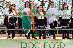 Young children performers dance on a truck float taking part in the parade along Piccadilly to celebrate St. Patrick's Day in London, Britain, on March 13, 2016. EXPA Pictures © 2016, PhotoCredit: EXPA/ Photoshot/ Ray Tang<br /> <br /> *****ATTENTION - for AUT, SLO, CRO, SRB, BIH, MAZ, SUI only*****