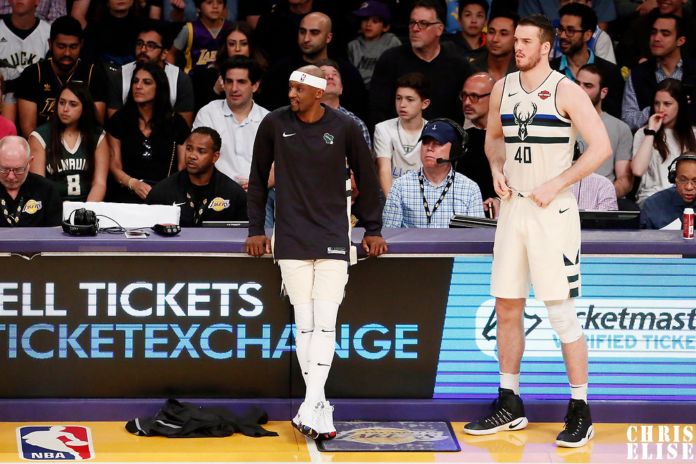 30 March 2018: Milwaukee Bucks guard Jason Terry (3) is seen next to Milwaukee Bucks center Marshall Plumlee (40) during the Milwaukee Bucks 124-122 victory over the LA Lakers, at the Staples Center, Los Angeles, California, USA.