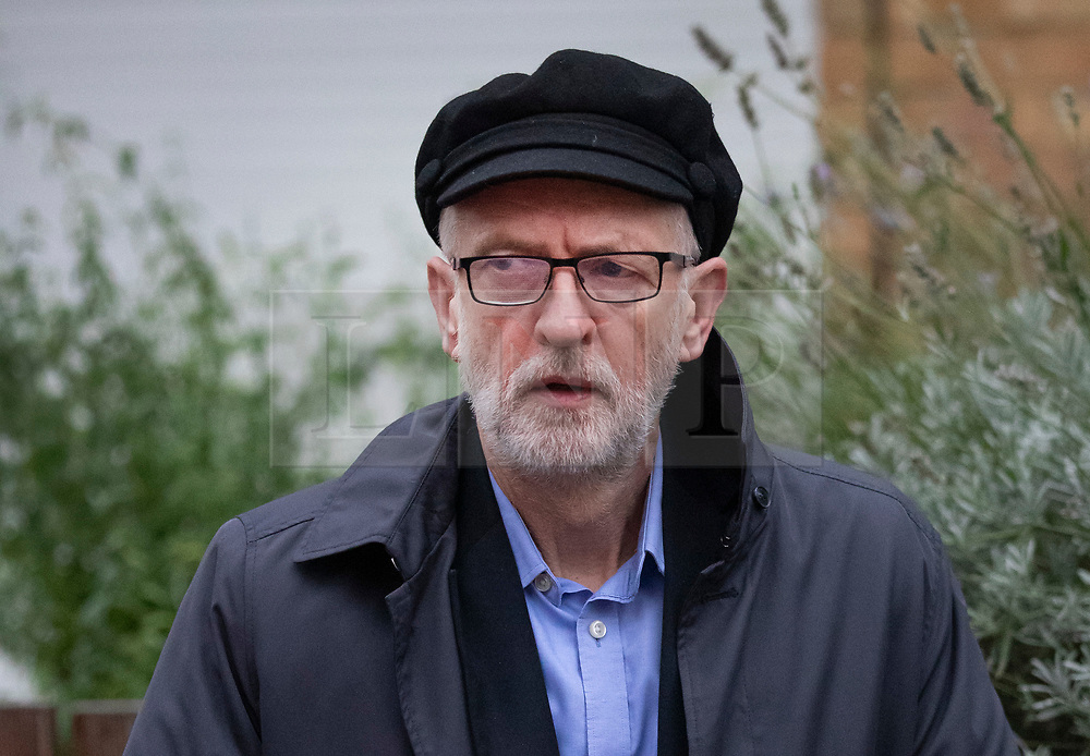 © Licensed to London News Pictures. 26/10/2019. London, UK. Labour Party Leader Jeremy Corbyn leaves his north London home. MPs may vote on a possible election on Monday in Parliament.  Photo credit: Peter Macdiarmid/LNP