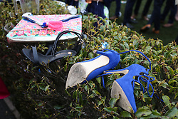 © Licensed to London News Pictures. 08/04/2016. Liverpool, UK. Shoes and bags scattered in a hedge on Ladies Day at the Grand National 2016 at Aintree Racecourse near Liverpool. The race, which was first run in 1839, is the most valuable jump race in Europe. Photo credit : Ian Hinchliffe/LNP